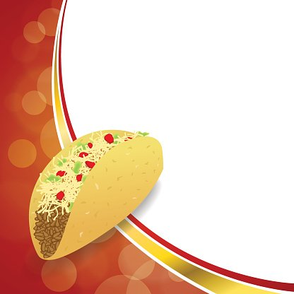 Abstract background food taco red yellow gold wave frame.