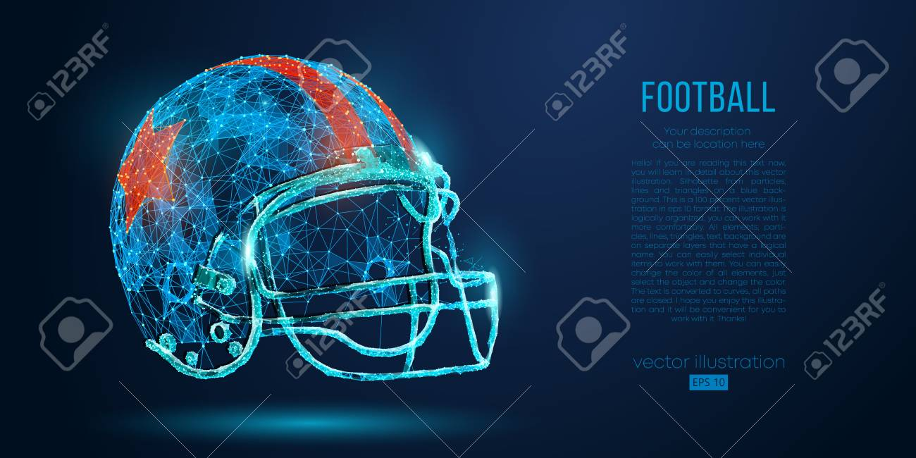 Abstract American football helmet from particles, lines and triangles...
