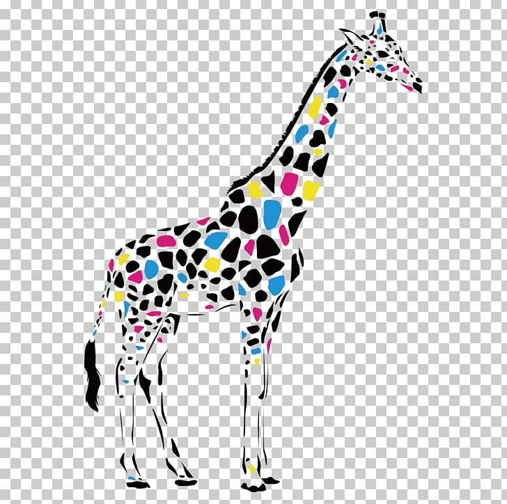 Reticulated Giraffe Abstract Art Drawing Painting PNG.