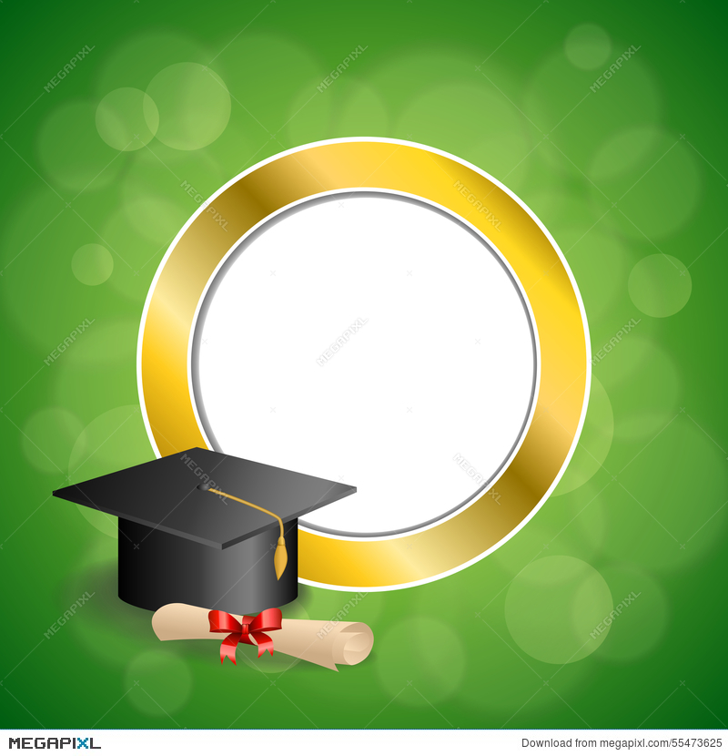 Background Abstract Green Education Graduation Cap Diploma.