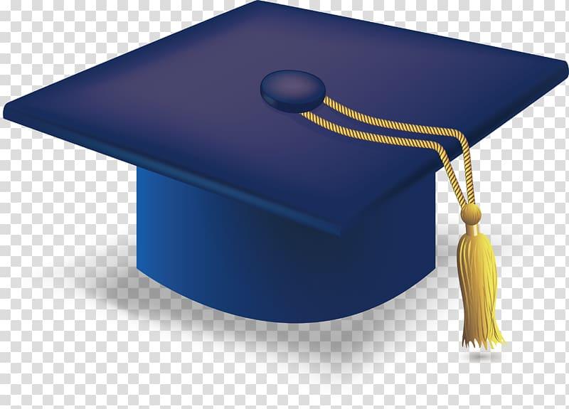 Blue and yellow mortar board illustration, Graduation.