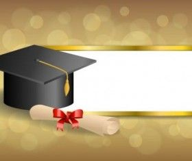Graduation cap with diploma and golden abstract background.