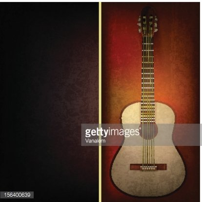 Abstract Grunge Black Background With Acoustic Guitar ON.