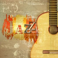 Abstract Grunge Piano Background With Acoustic Guitar stock.