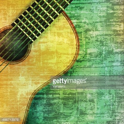 abstract grunge background with acoustic guitar Clipart.
