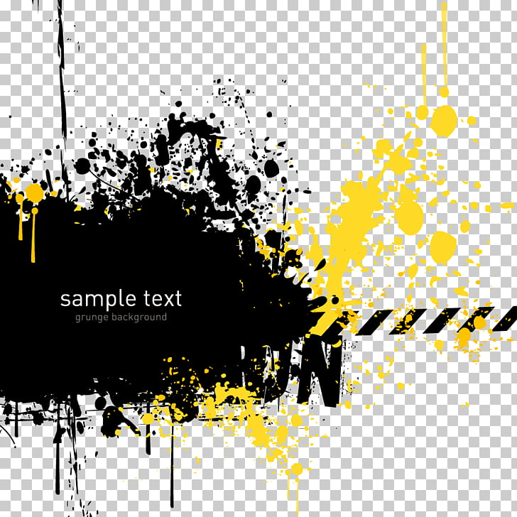 Grunge Yellow, abstract pattern, Sample Text text on black.