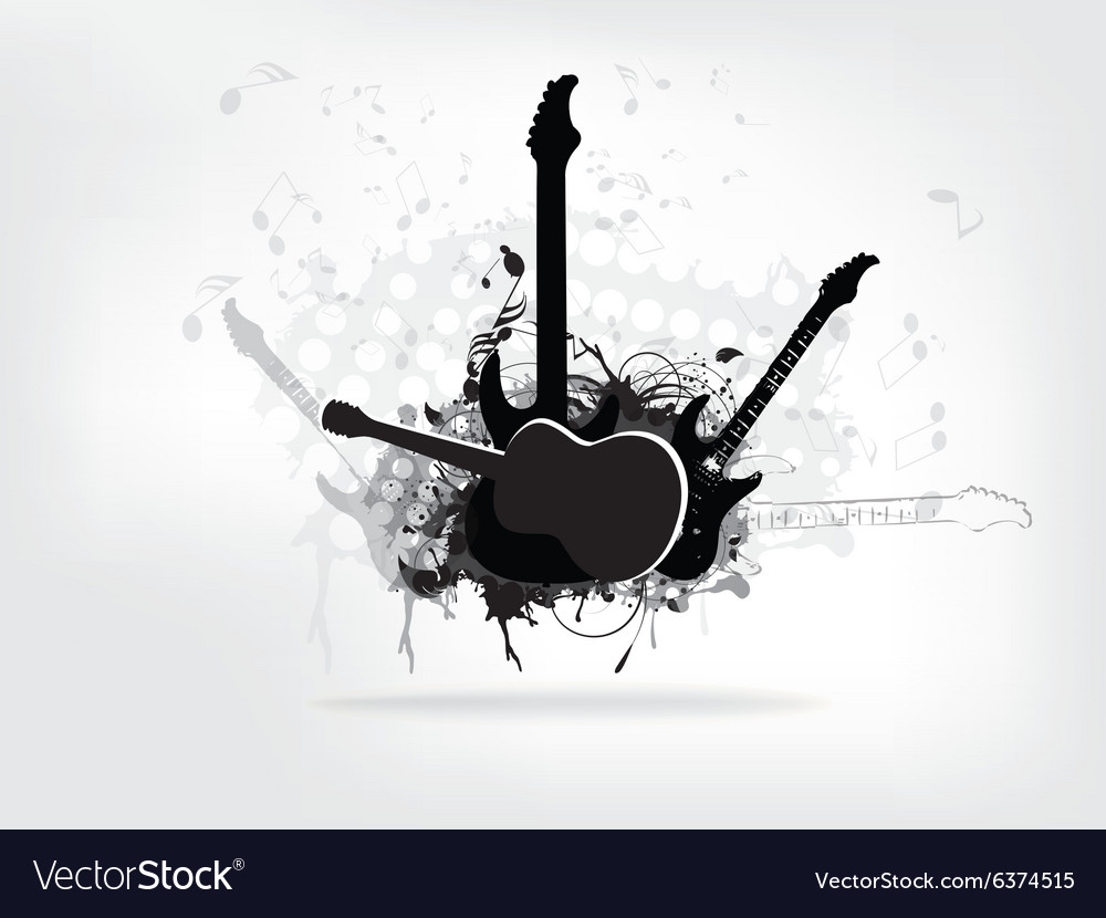 Abstract grunge music background with guitar.