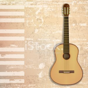 abstract grunge background with guitar Clipart Image.