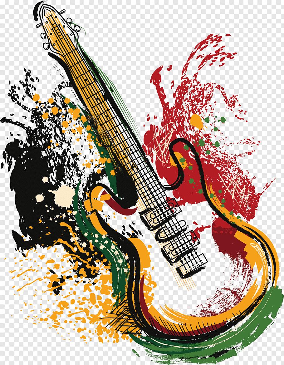 Banner illustration, Electric guitar Grunge Poster, Art.