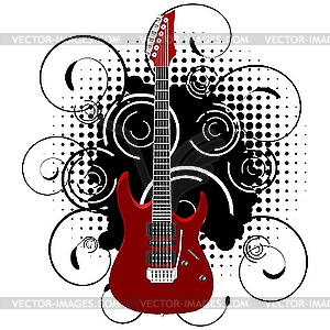 Guitar on abstract grunge background.