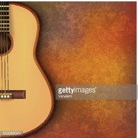 Abstract Grunge Music Background With Guitar on Brown stock.