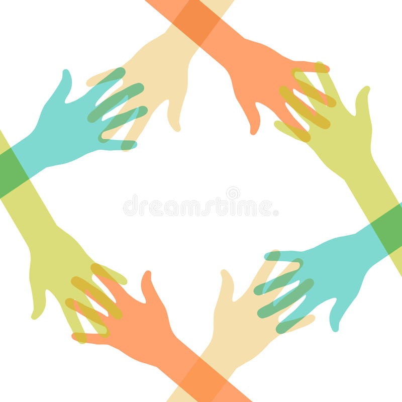 Abstract Hands Unity Stock Illustrations.