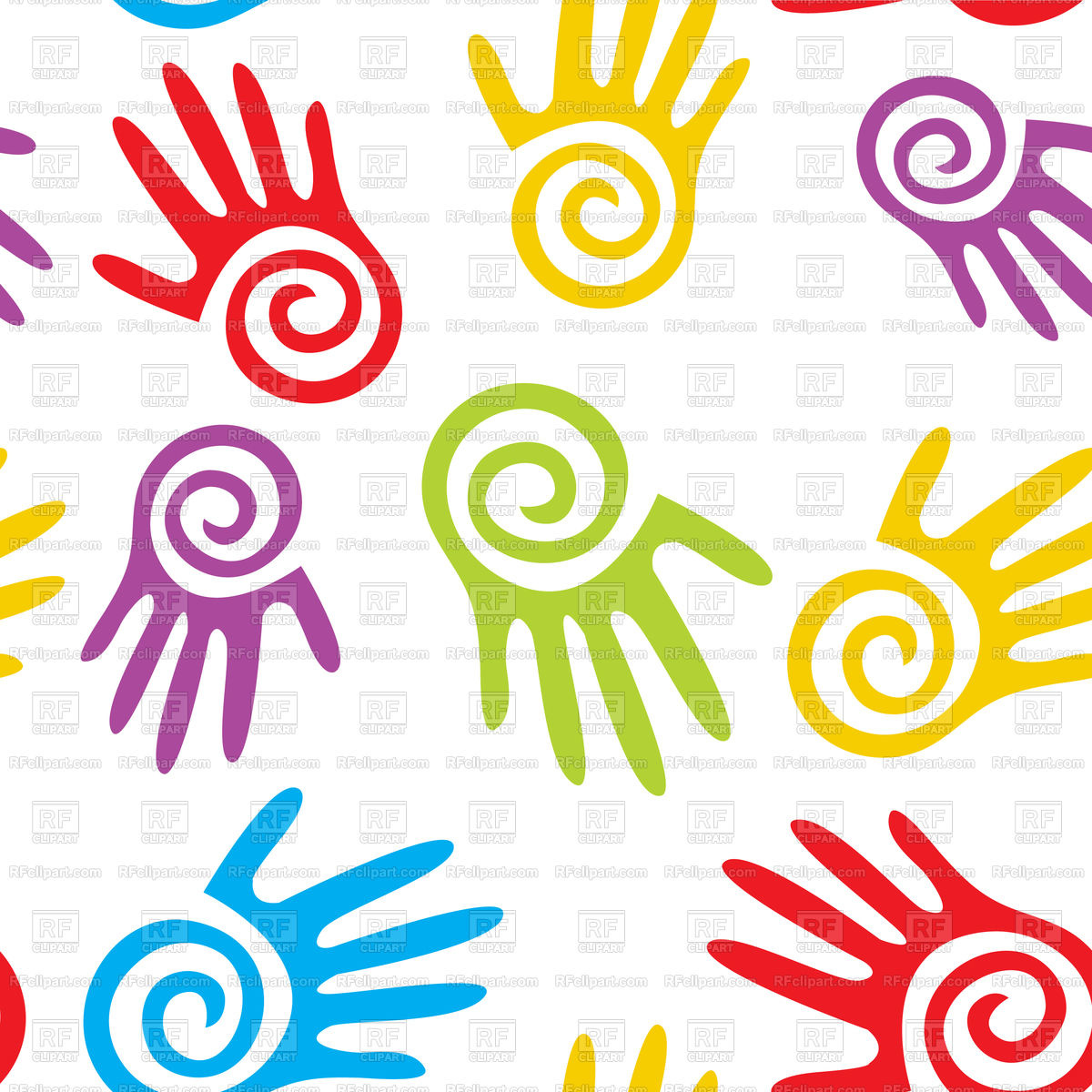 Abstract hands seamless background Stock Vector Image.