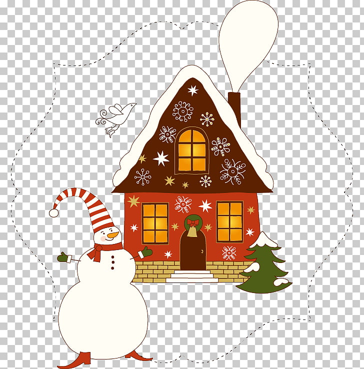 Christmas card House , Snowman pattern abstract house PNG.