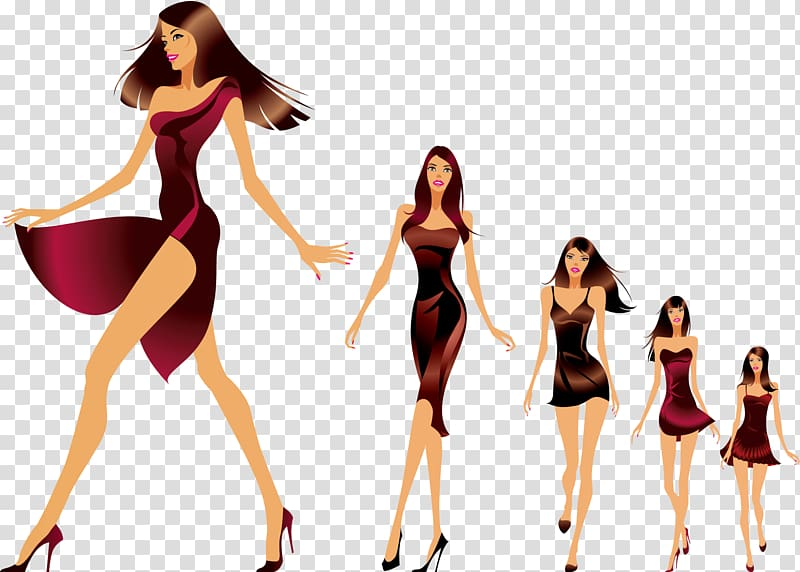 Group of women illustration, Fashion show Runway Model.