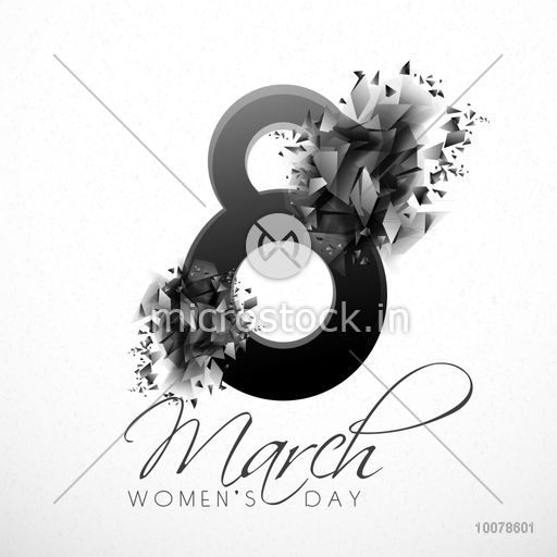 Stylish text 8 March with abstract design for Happy International Women\\\'s  Day celebration..