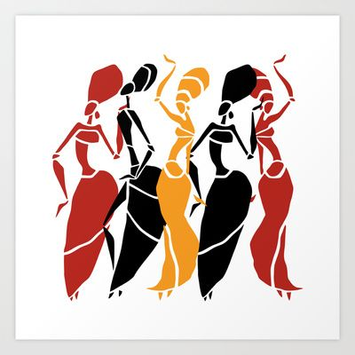 Abstract African dancers silhouette. Figures of african.