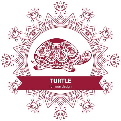 Abstract Indian turtle with mandala. Clipart Image.