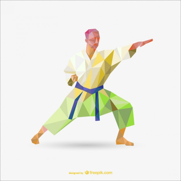 Karate Polygon Drawing Free Vector.