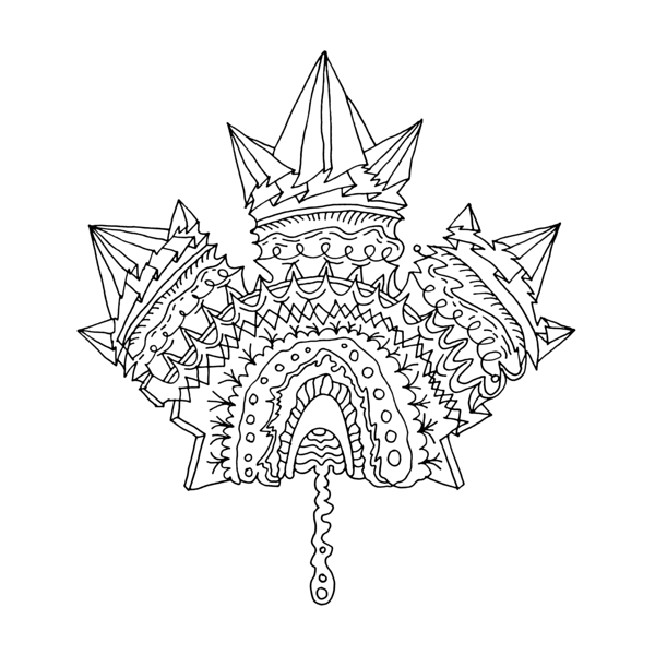 Canadian Maple Leaf Colouring Page with Abstract Drawing in.