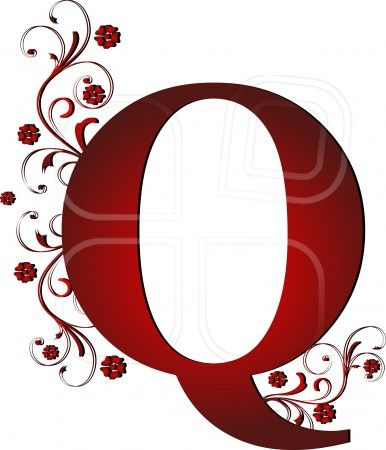 capital letter Q red, abstract, alphabet, alphabetic.