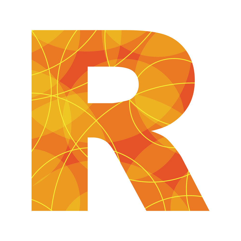 Abstract font letter R vector ai, eps file.