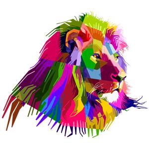 Prismatic Geometric Lion clipart, cliparts of Prismatic.