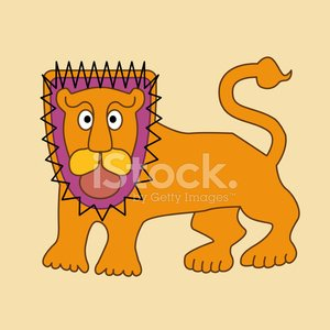 Abstract cartoon of lion Clipart Image.