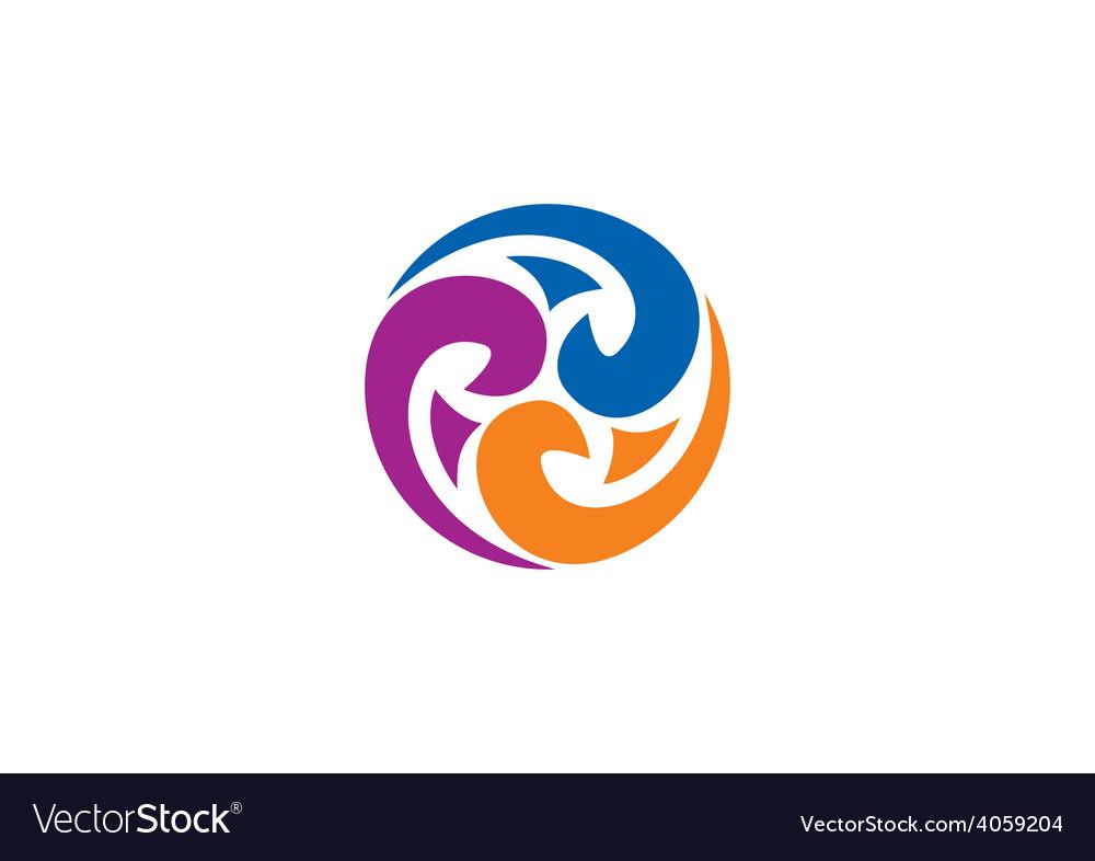 Decorative circle swirl abstract logo.