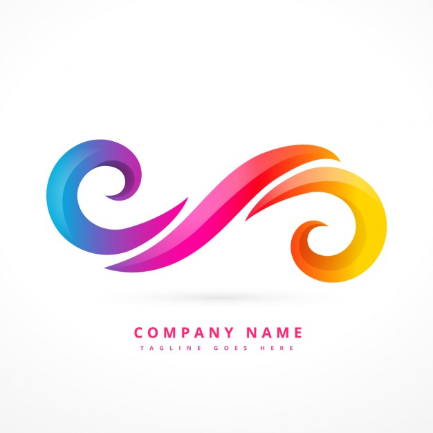 Abstract logo made with colorful swirls Vector.