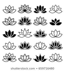Lotus flower design, set, Yoga vector abstract collection.