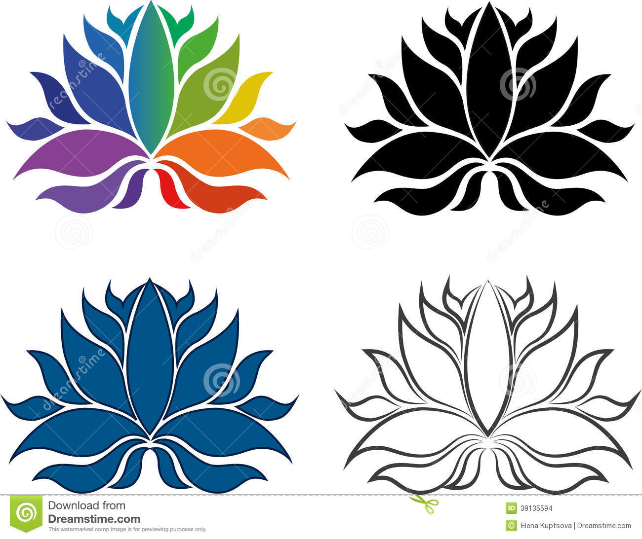 Abstract Symbols Of Lotus Flower Stock Vector.