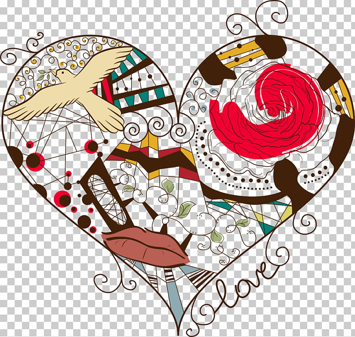 Heart Abstract art , Love birds PNG clipart.