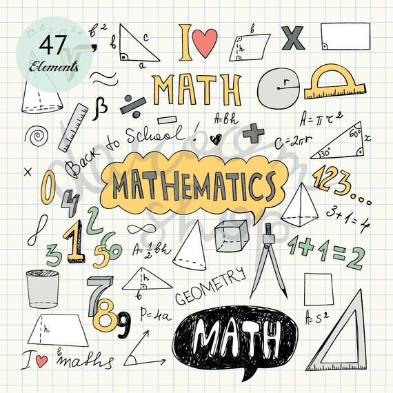 Hand Drawn Mathematics Clip Art/Math Elements and Symbols.