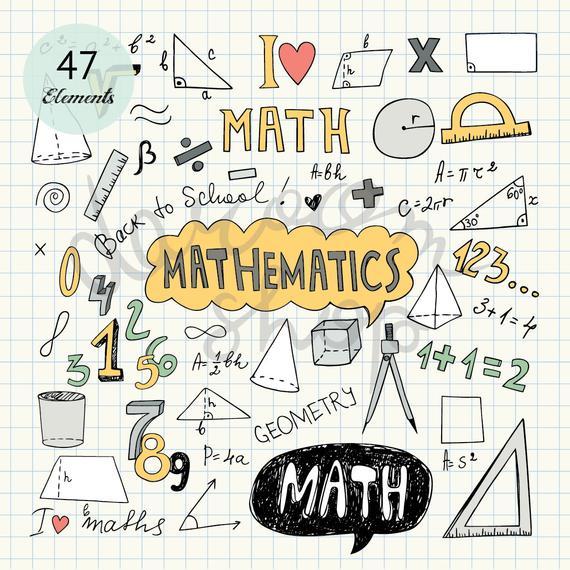 Hand Drawn Mathematics Clip Art/Math Elements and Symbols.