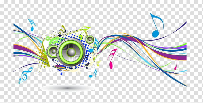 Multicolored music illustration, Background music , Colorful.