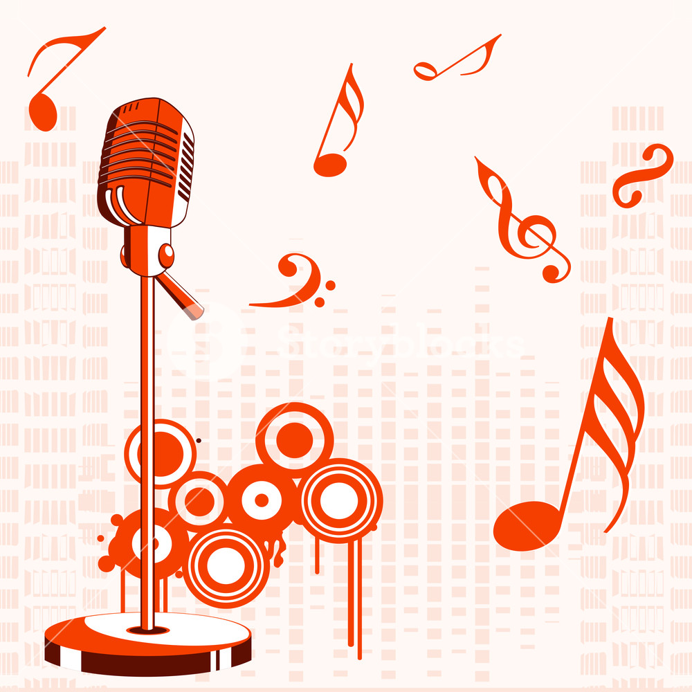 Abstract music background with symbols and microphone.