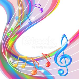 Colorful abstract notes music background. Clipart Image.