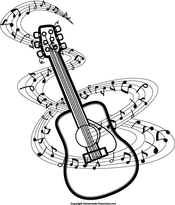 Guitar music notes clipart clipartwiz.