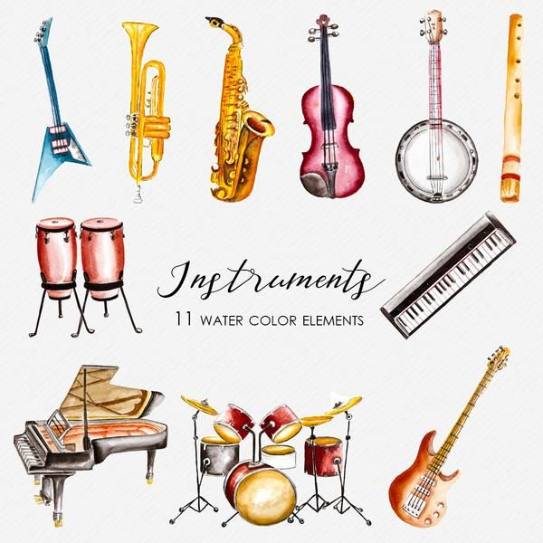 Musical Instruments Watercolor Clipart CA0004 in 2019.