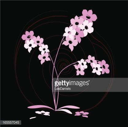 Orchid Japanese Abstract Clipart Image.
