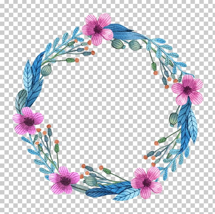 Flower Wreath Watercolor Painting Euclidean Pattern PNG.