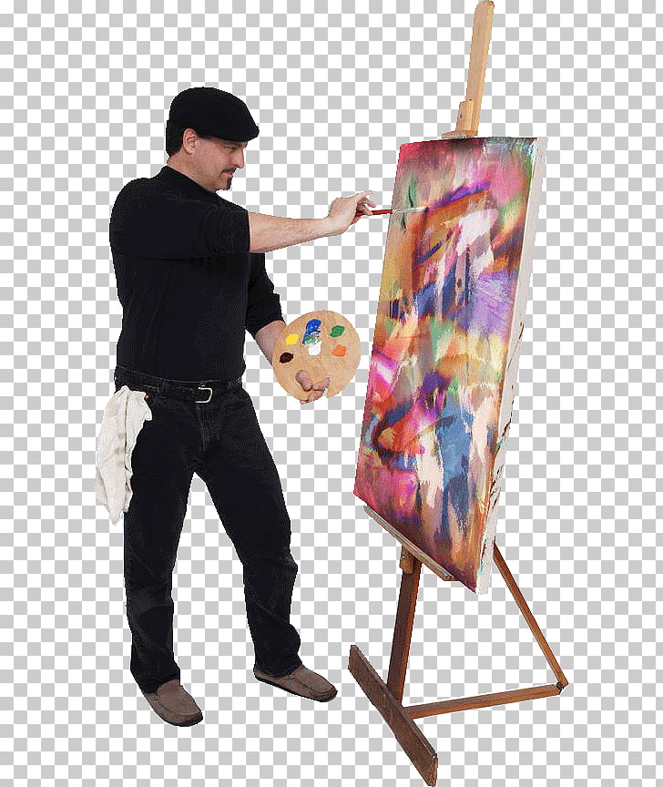 Oil painting Artist Palette, painter, man doing abstract.