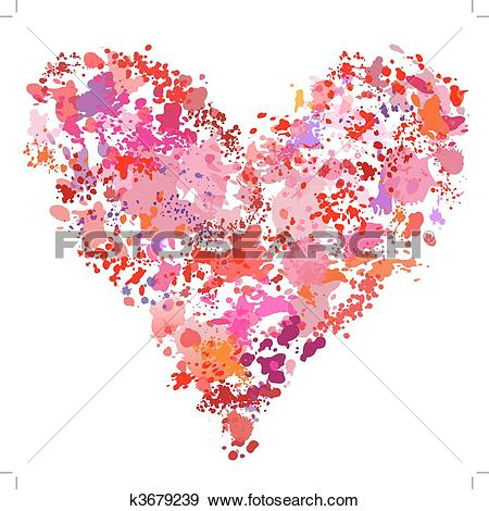 Clip Art of Heart shape paint spatter splatter painting abstract.