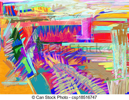 EPS Vector of original abstract digital painting csp18516747.