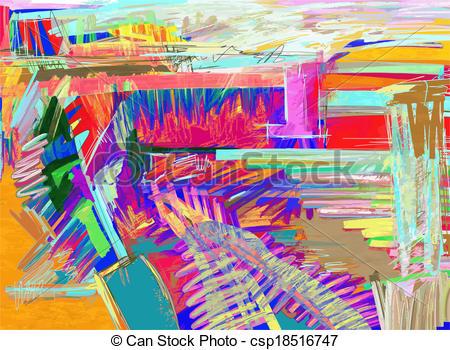 EPS Vector of original abstract digital painting csp18516747.