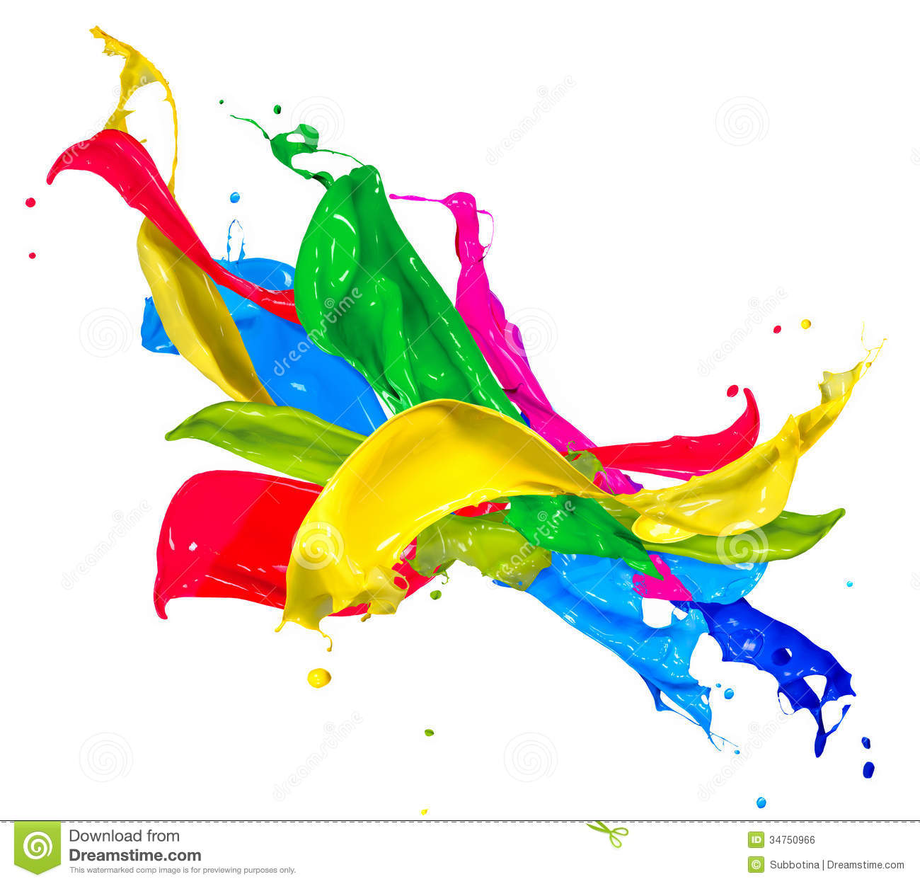 Colorful Paint Splashes Royalty Free Stock Image.