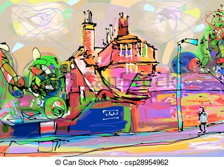 Clip Art Vector of abstract painting of british village, digital.
