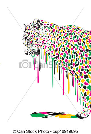 EPS Vectors of Leopard, abstract painting.