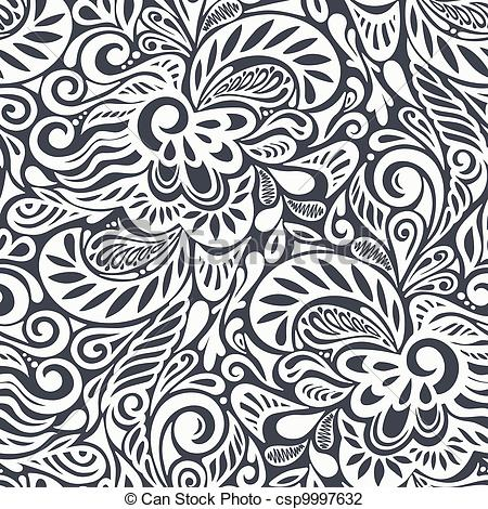 Vector Illustration of Seamless abstract curly floral pattern.